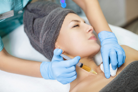procedure Plasmolifting injection. plasma injection into the skin of patient