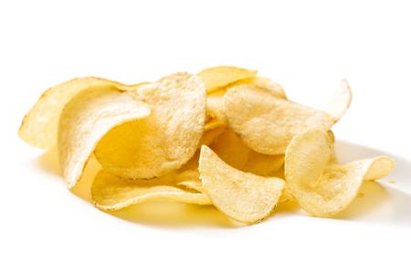 Crispy potato chips isolated on white background  close-up