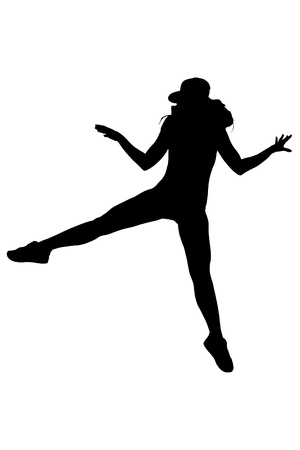 nude young: silhouette of woman dancing and jumping on white background Stock Photo