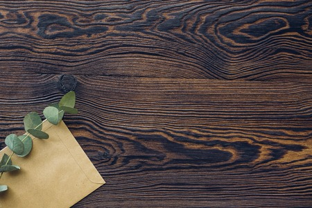 eucalyptus and craft envelope on wood background, top view. Place for text
