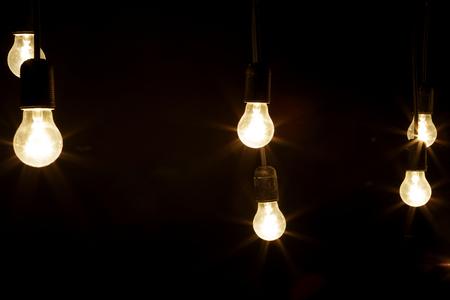 light bulbs on a black background