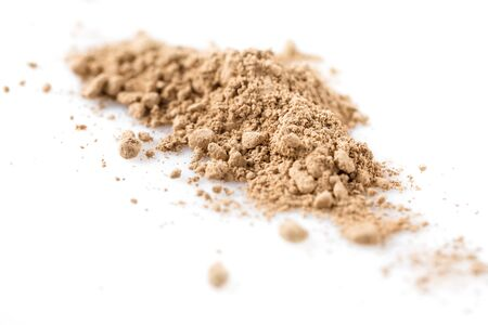 Beige powder for face isolated on white background