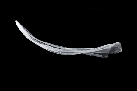 wedding white Bridal veil isolated on black background Banco de Imagens