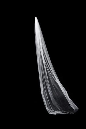 黒の背景に分離された白結婚式ブライダル ベール