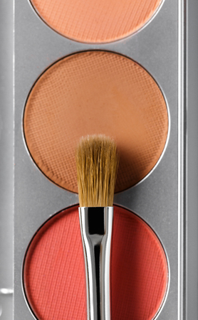 Palette of brown and terracotta eye shadow and makeup brush, top view