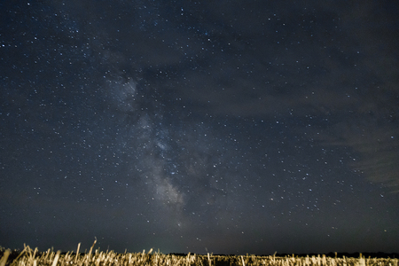 Beautiful night sky with stars.  Milky Way over field