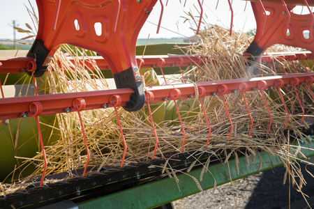 Close up  of  combine harvester header