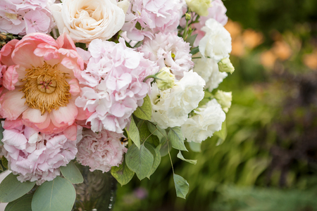 Beautiful bright bouquet of pink peonies