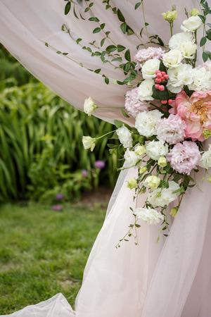 Flower compositions in wedding decoration Lizenzfreie Bilder