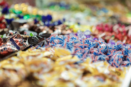 lots of chocolates on store Stock Photo
