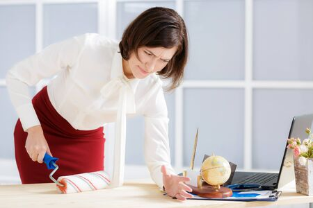 attractive business woman changing activity Stock Photo
