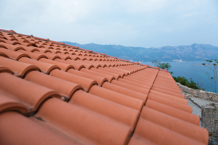 background of red brick roofs, Montenegro Stok Fotoğraf - 89546790