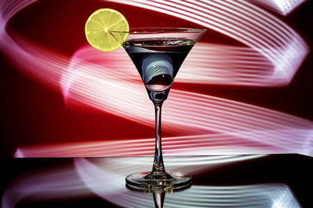 silhouette of a glass with cocktail