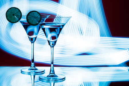 silhouette of  glasses in  nightclub Reklamní fotografie