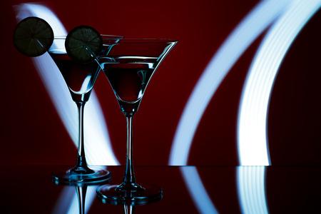 silhouette of  glasses in  nightclub Stock Photo