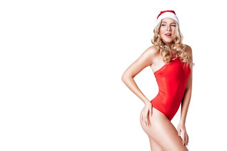 santa girl in red body suit Stock Photo