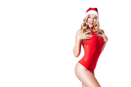 santa girl in red body suit Stock Photo - 89697445