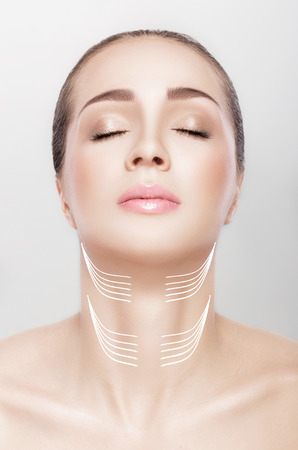 woman with arrows on her neck. lifting concept.