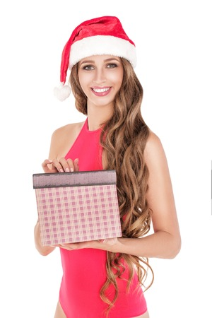santa girl in red body suit Stock Photo - 91660198