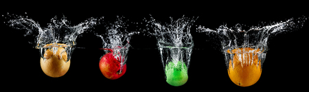 fruit in water splash Stock Photo