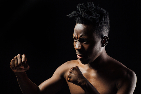 African-American male athlete boxing