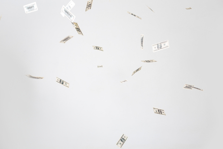 hundred dollars banknotes fly