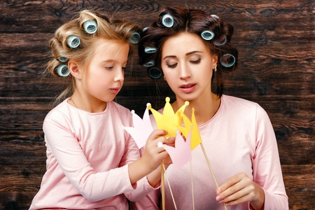 mother and daughter having fun together Stock Photo
