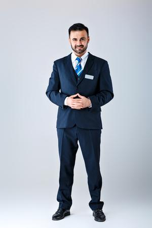man in uniform on white background Stock Photo