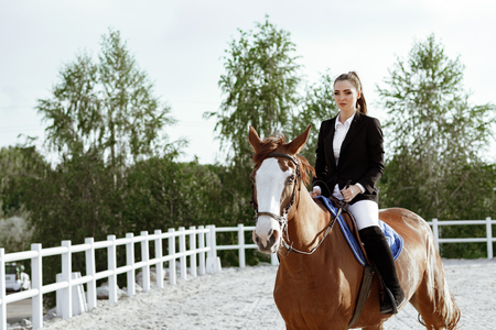 Rider elegant woman riding her horse outside Imagens