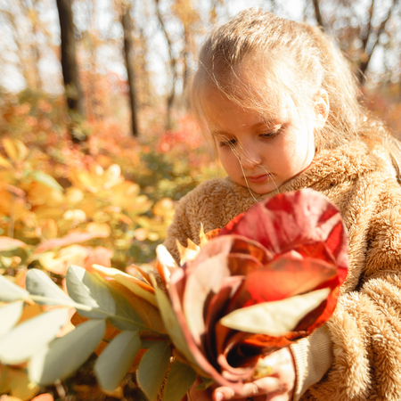 baby girl pick up a bouquet of yellow leaves on autumn day