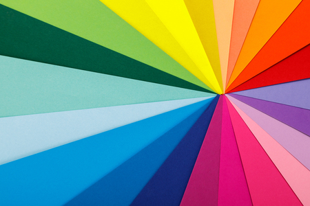 Rainbow color palette. Sheets of colored paper