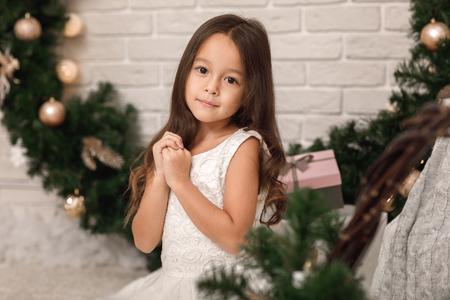 Pretty smiling girl near the Christmas wreath Stock Photo