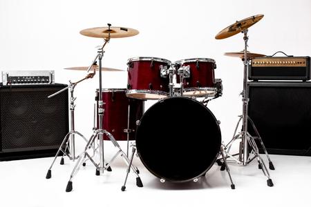 drum set on white background. musical instruments