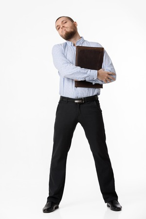 bearded businessman holding leather case on white background Stock Photo