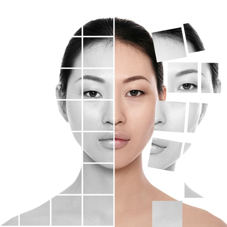 Face made of many different colorless and colored parts of the portrait. Plastic surgery and spa concept. asian woman