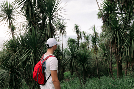 Traveler man with backpack walking in the forest