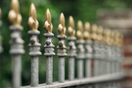 Forged beautiful elegant vintage iron fence on green background Banque d'images - 122295336
