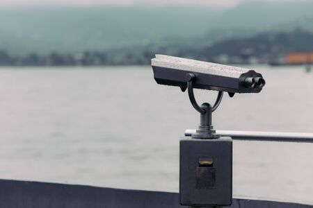 coin operated binoculars with sea view, Close up