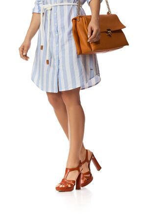 Brown womens shoes and leather bag. Beautiful female legs wearing summer high heeled sandals in blue dress and brown woman handbag on white background. Stock Photo - 128612840
