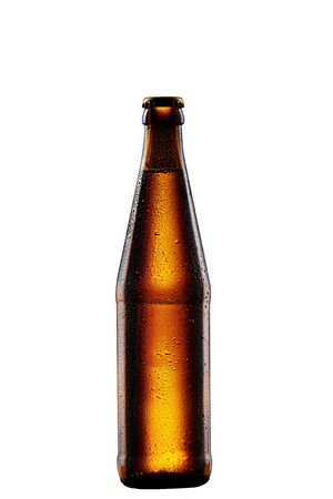 wet brown glass bottle of beer on white background