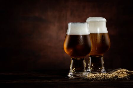two glasses of cold dark beer and wheat spikelets on dark background. copy space