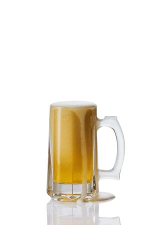 Perfect Mug of beer with foam on white background Banco de Imagens