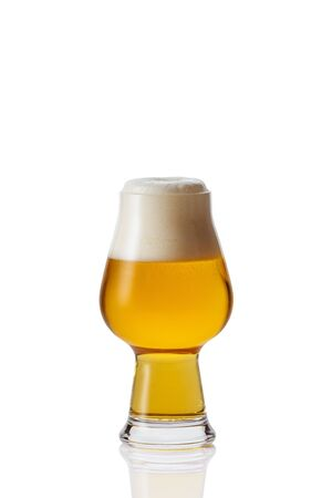 Perfect glass of beer with foam on white background