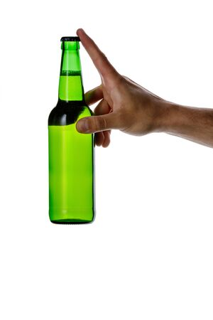 male hand holding green beer bottle without label isolated on white background