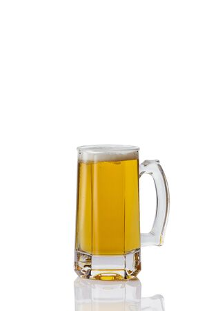Perfect glass of beer on white background