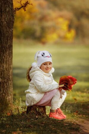little cute baby girl with bouquet of yellow and red leaves in the forest on a sunny autumn day Banco de Imagens
