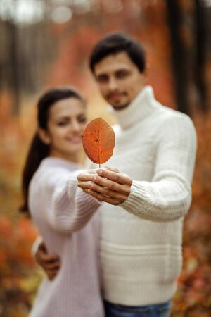 Couple in love with autumn leaf hugging and enjoying beautiful sunny day in park. focus on leaf
