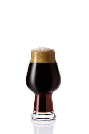 Perfect glass of dark beer with foam on white background Banco de Imagens