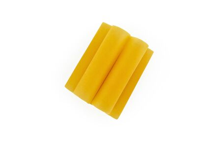 pile of italian raw dry pasta cannelloni isolated on white background. Pasta for baking. top view Zdjęcie Seryjne
