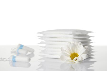 menstrual sanitary pads and cotton tampons on white background. Feminine hygiene products and chamomile flower. copy space.